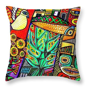 Peace Dove In Totem Forest Throw Pillow by Sandra Silberzweig