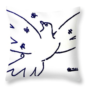 Throw Pillow featuring the painting Peace Dove Serigraph In Blue As A Tribute To Pablo Picasso's Lithograph Of Love Bird With Flowers by M Zimmerman