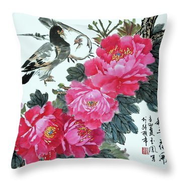Peace Flowers Throw Pillow by Yufeng Wang