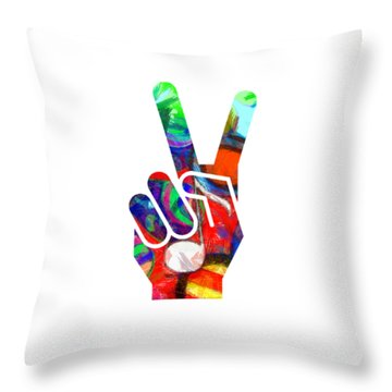 Peace Hippy Paint Hand Sign Throw Pillow