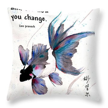 Peace In Change With Zen Proverb Throw Pillow