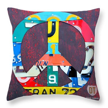 Peace License Plate Art Throw Pillow by Design Turnpike