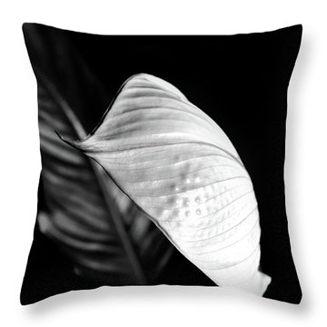 Peace Lily Minimalism In Black And White Throw Pillow