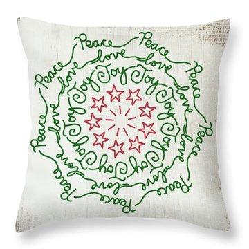 Peace Love Joy Wreath- Art By Linda Woods Throw Pillow