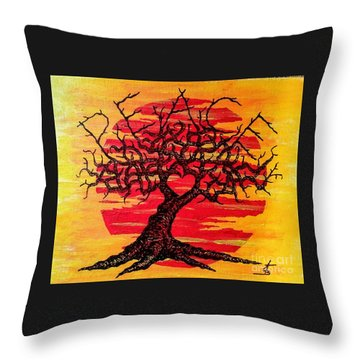 Throw Pillow featuring the drawing Peace Love Tree by Aaron Bombalicki