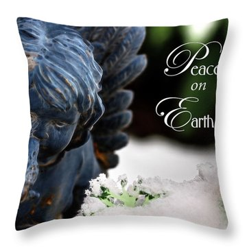 Throw Pillow featuring the photograph Peace On Earth Angel by Shelley Neff