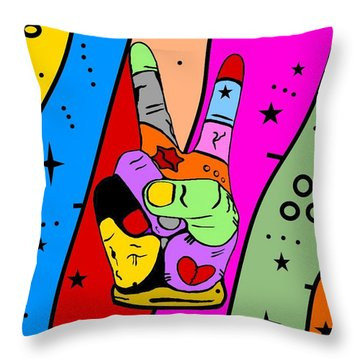 Peace Popart By Nico Bielow Throw Pillow