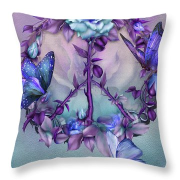Peace Rose - Blue Throw Pillow