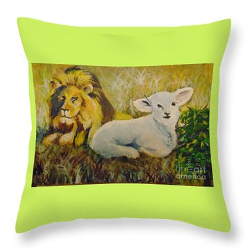 Throw Pillow featuring the painting Peace by Saundra Johnson