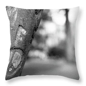 Peace Sign Carving, 1975 Throw Pillow