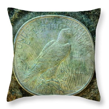 Throw Pillow featuring the digital art Peace Silver Dollar Reverse by Randy Steele