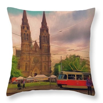 Peace Square Prague Throw Pillow