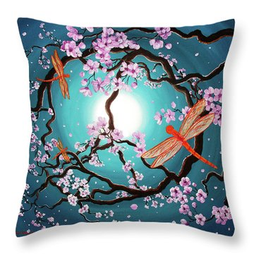 Peace Tree With Orange Dragonflies Throw Pillow