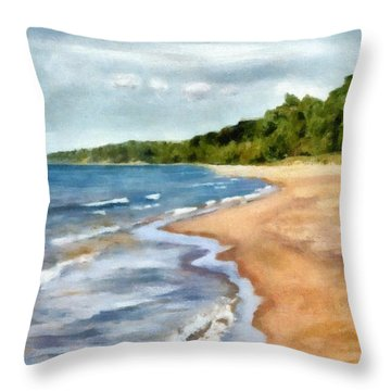 Peaceful Beach At Pier Cove Ll Throw Pillow