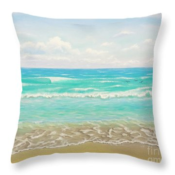 Throw Pillow featuring the painting Peaceful Beach by Jimmie Bartlett