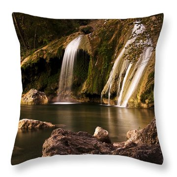 Throw Pillow featuring the photograph Peaceful Day At Turner Falls by Tamyra Ayles
