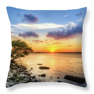 Throw Pillow featuring the photograph Peaceful Evening On The Waterway by Debra and Dave Vanderlaan