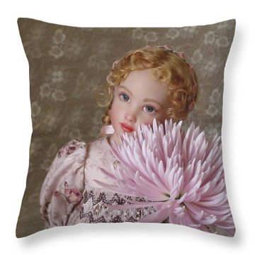 Throw Pillow featuring the photograph Peaceful Kish Doll by Nancy Lee Moran