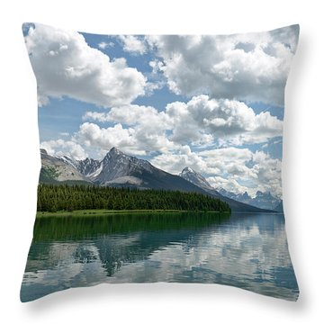 Peaceful Maligne Lake Throw Pillow by Sebastien Coursol