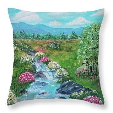 Throw Pillow featuring the painting Peaceful Meadow by Sonya Nancy Capling-Bacle