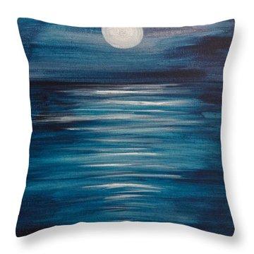 Peaceful Moon At Sea Throw Pillow