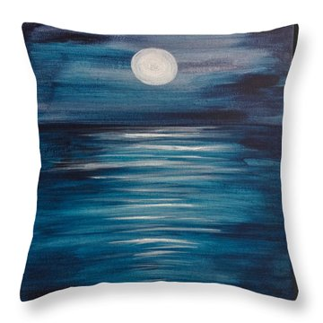 Peaceful Moon At Sea Throw Pillow
