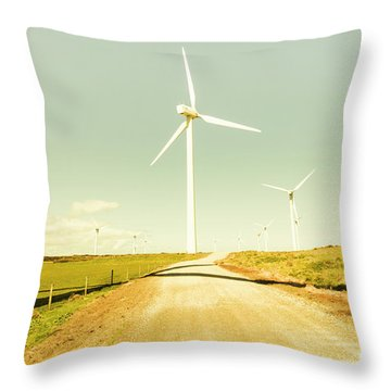 Peaceful Pastel Wind Farm Throw Pillow