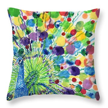 Peaceful Peacock Throw Pillow by Connie Valasco