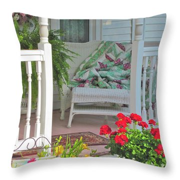 Throw Pillow featuring the photograph Peaceful Porch In A Small Town by Nancy Lee Moran