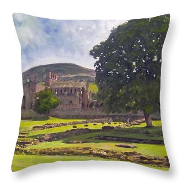 Peaceful Retreat - Melrose Abbey  Throw Pillow by Richard James Digance
