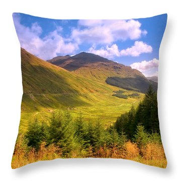 Peaceful Sunny Day In Mountains. Rest And Be Thankful. Scotland Throw Pillow