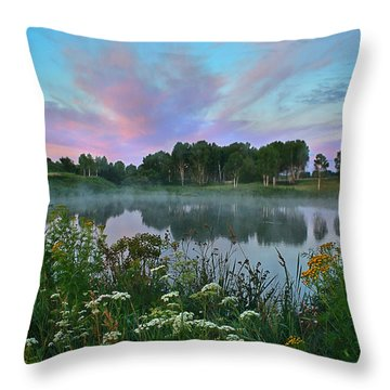 Peaceful Sunrise At Lake. Altai Throw Pillow