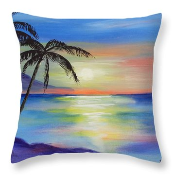 Peaceful Sunset Throw Pillow by Luis F Rodriguez