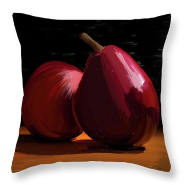 Peach And Pear 01 Throw Pillow by Wally Hampton