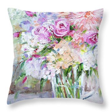 Throw Pillow featuring the painting Peach And Pink Bouquet by Jennifer Beaudet