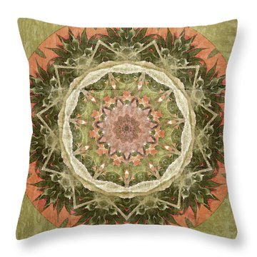 Peach And Sage Abstract Throw Pillow by Bonnie Bruno