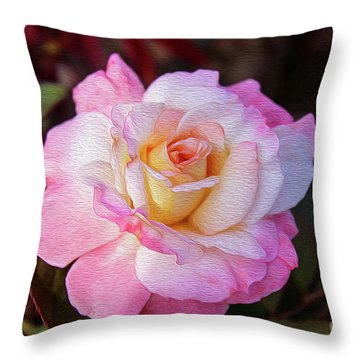 Peach And White Rose Throw Pillow