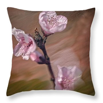 Throw Pillow featuring the photograph Peach Blossom by David Waldrop
