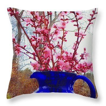 Peach Blossoms And Blue Pitcher El Valle Throw Pillow by Anastasia Savage Ealy