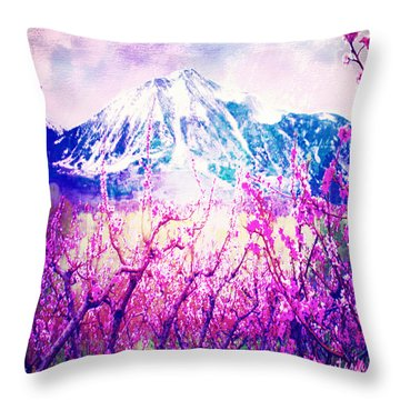 Peach Blossoms And Mount Lanborn Vi Throw Pillow by Anastasia Savage Ealy