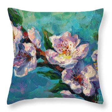 Peach Blossoms Flowers Painting Throw Pillow