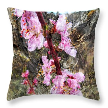 Throw Pillow featuring the photograph Peach Blossoms Impression by Anastasia Savage Ealy