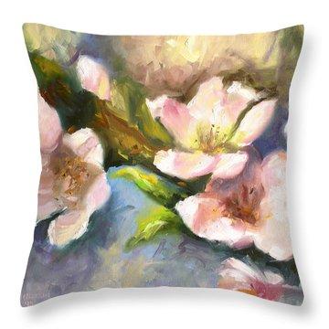 Peach Blossoms Throw Pillow