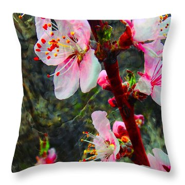 Throw Pillow featuring the photograph Peach Blossoms On A Windy Day by Anastasia Savage Ealy