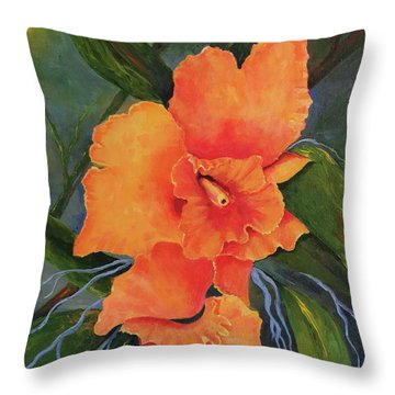 Peach  Blush Orchid Throw Pillow