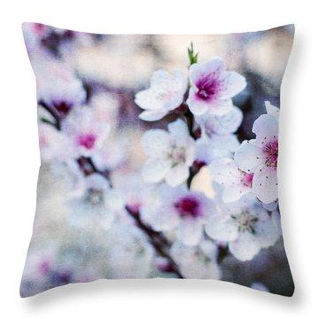 Peach Flowers Throw Pillow