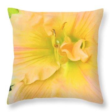 Peach Lily Throw Pillow