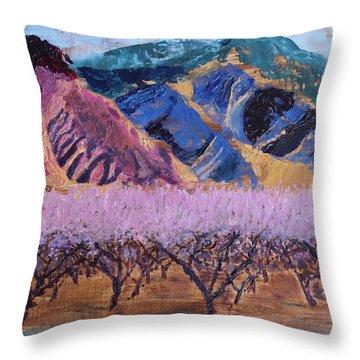 Peach Orchard Canigou Throw Pillow