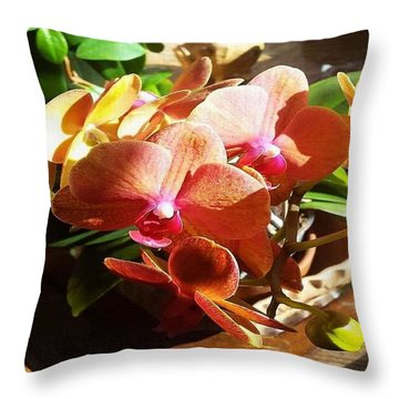 Peach Orchid Blossoms Throw Pillow
