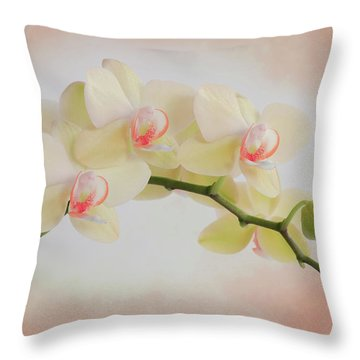 Peach Orchid Spray Throw Pillow